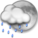 Nuvarande väder: (22:25) Night time, Regn, Cloudy with clear patches